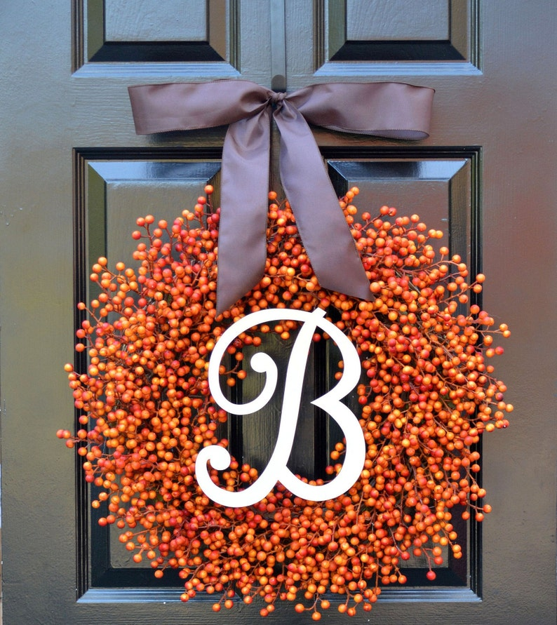 BESTSELLING Weatherproof Orange Berry Fall WreathFall Outdoor monogram and bow 24 inches