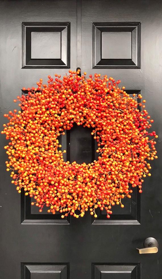 BESTSELLING Weatherproof Orange Berry Fall Wreath,Fall Outdoor Monogram Wreath Thanksgiving Wreath, Fall Decor with Weatherproof Berries