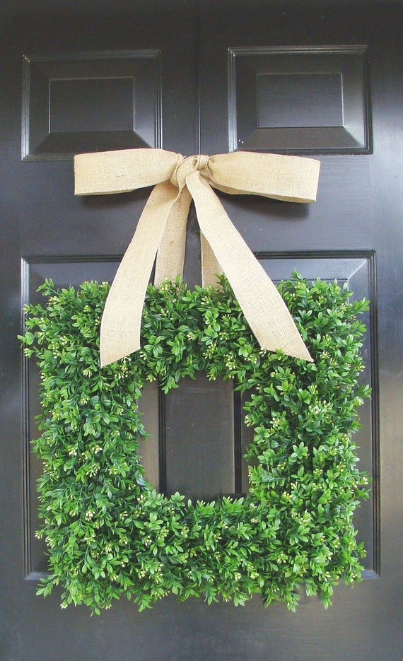 Summer Wreath- Spring Wreath- Square Boxwood Wreath for Door- Custom Bulap Bow- Housewarming Gift- 18 INCH Cottage Chic Decor