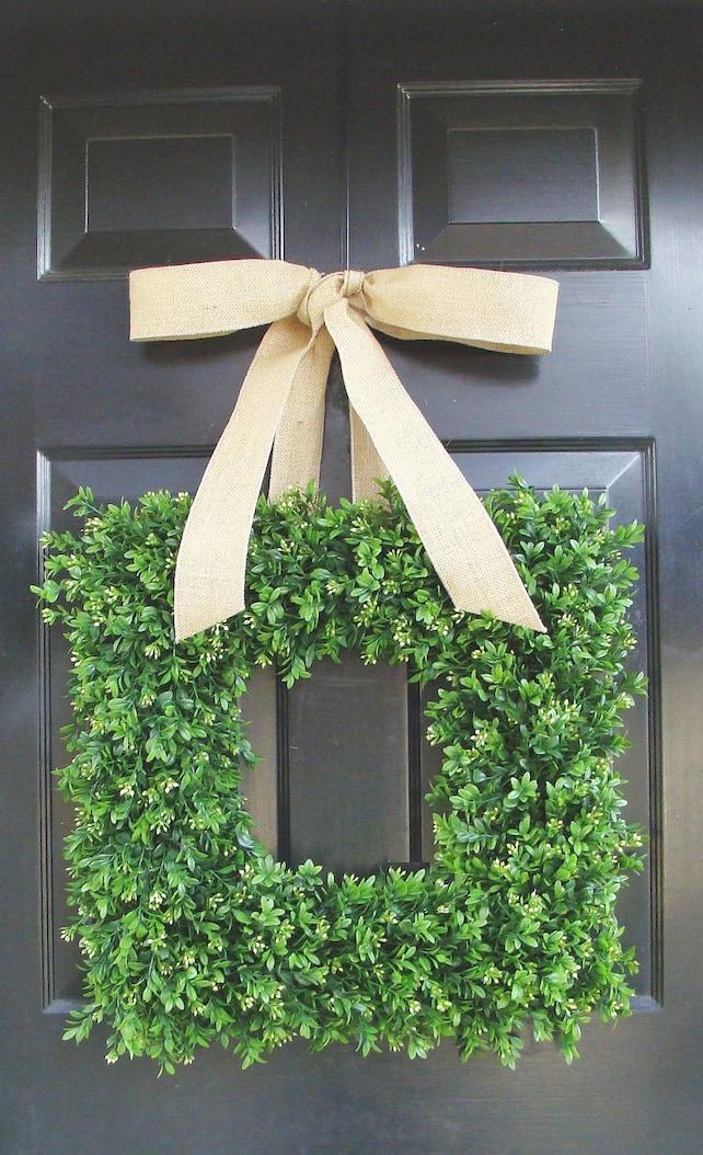 Burlap Boxwood Wreath Outdoor Wedding Wreath Wedding Decor | Etsy