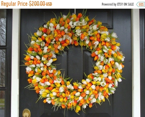 SUMMER WREATH SALE Mini Tulip Spring Wreath- 28 inch Tulip Wreath- Spring Wreath for Door (16-24 inch Sizes Also Available)- Summer Wreath