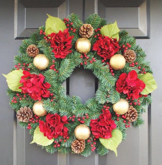 Christmas Hydrangeas, Evergreen Christmas Wreath, Hydrangea Wreaths, Holiday Home Decor, Traditional Christmas, Red Gold FREE SHIPPING