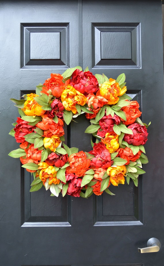 Fall Colors Peony Wreath, Fall Wreath, Monogram Wreath for Front Door, Autum Decor, Fall Colors, Designer Fall Wedding Wreath Limited Supply