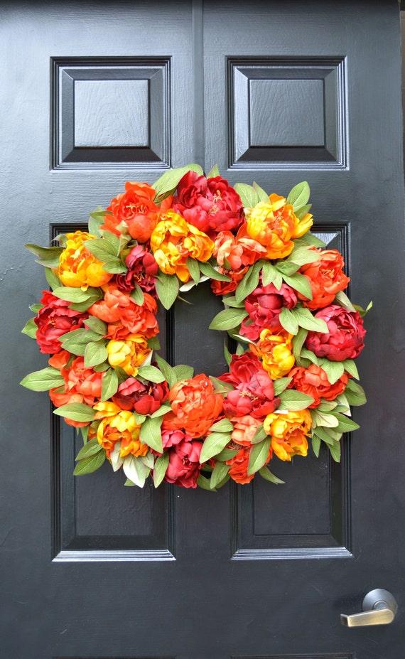 Fall Colors Peony Wreath, Fall Wreath, Monogram Wreath for Front Door, Autumn Fall Decor, Fall Colors, Designer Wreath, Fall Wedding Wreath