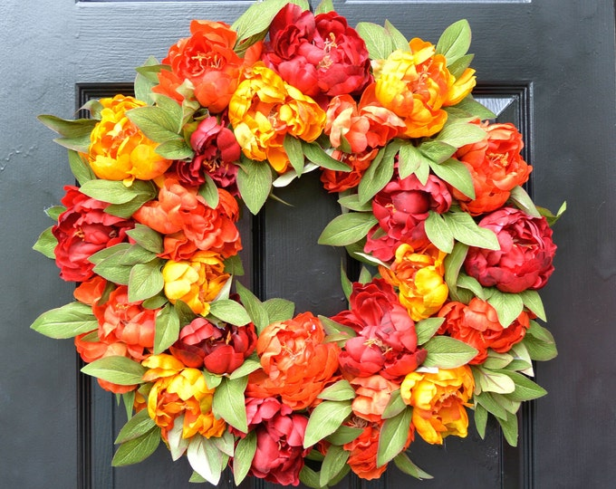 Fall Wreath, Fall Colors Peony Wreath, Monogram Wreath for Front Door, Autum Decor, Fall Colors, Designer Fall Wedding Wreath Limited Supply