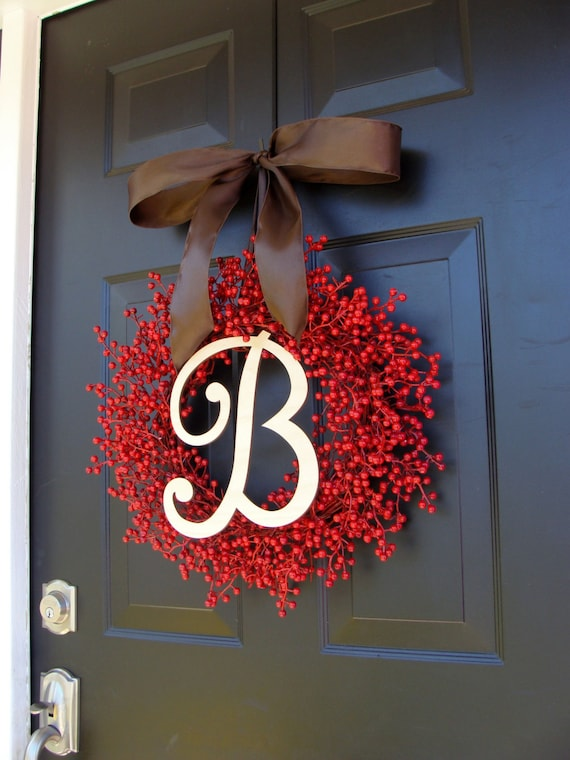 Red Berry Valentine Wreath- Berry Wreaths- Valentine Decor Wreath- Monogram Wreath- Fall Decor- WEATHERPROOF