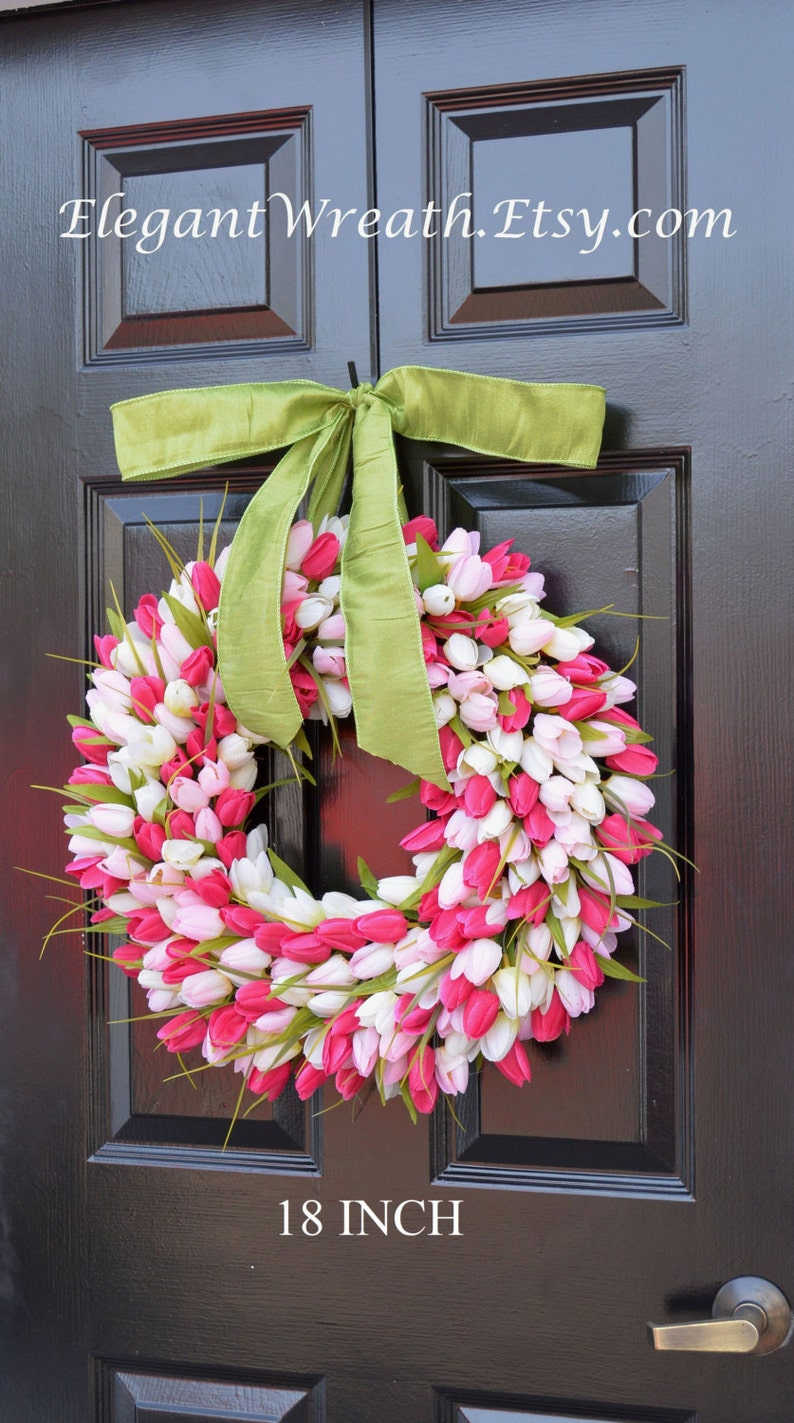 Spring Mother's Day Wreath Spring Wreath Tulip Wreath Gift image 0