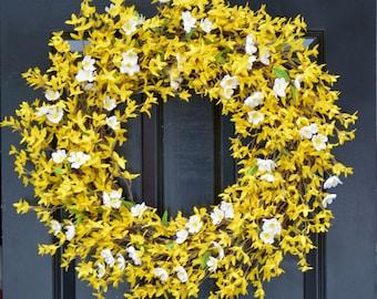 Cherry Blossom and Forsythia Wreath- Yellow Wreath- Spring Decor- Summer Wreath- Thin Wreath