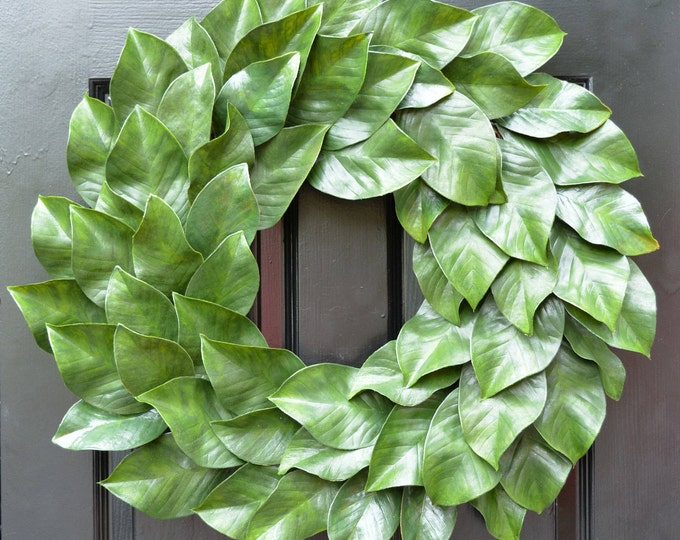 Magnolia Wreath, Fixer Upper Magnolia Wreath, Magnolia Leaves Door Wreath, Southern Decor Year Round Wreath Southern Gift for Her