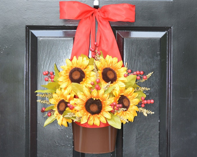 Year Round Sunflower Door Bucket- Spring Wreath- Sunflower Summer Wreath- Front Door Wreath Alternative- Outdoor Thanksgiving Fall Decor
