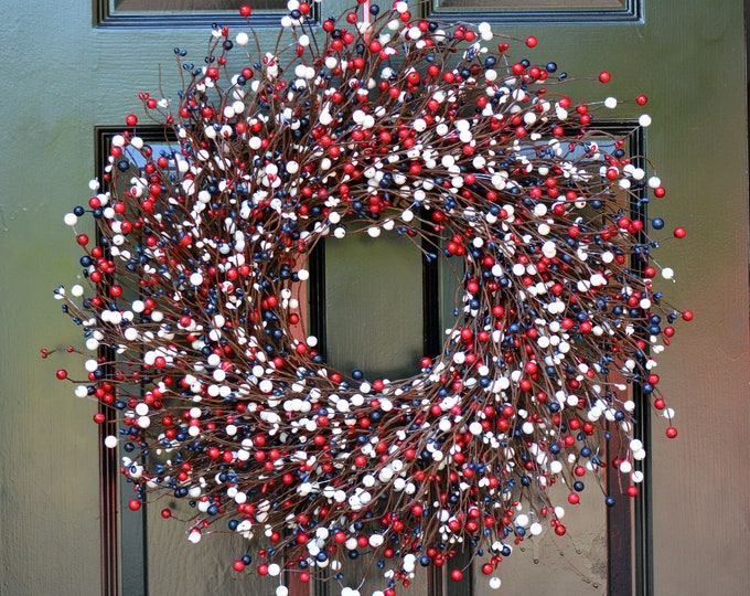 RED WHITE and BLUE Berry Wreath, Fourth of July Decor, Memorial Day Wreath, Summer Wreath, Memorial Day Decor, July 4th Decoration