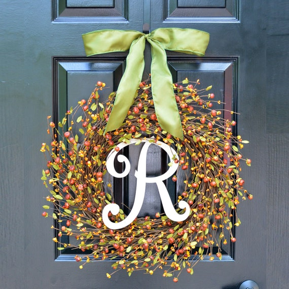 Fall Berries Pumpkins with Leaves Wreath, Fall Wreath, Fall Decor Monogram Wreath, Autumn Fall Decor, Fall Colors