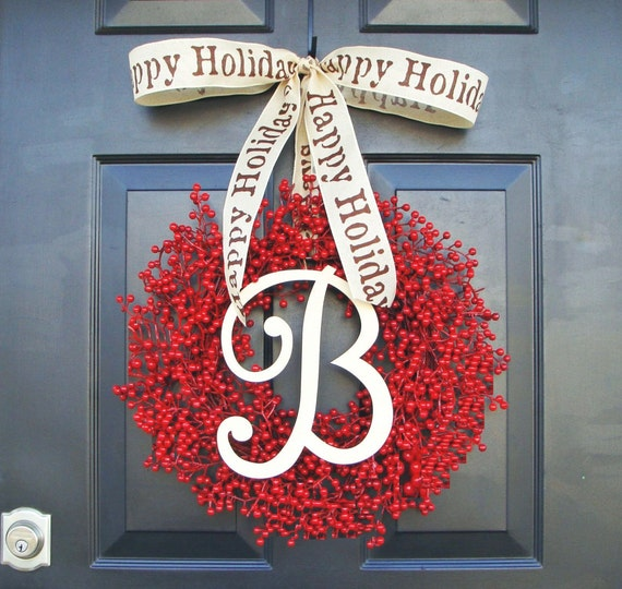 Monogram Berry Wreath- Holiday Wreath- Christmas Wreath- Christmas Decor- Valentine's Day Wreath- Holiday Wreath