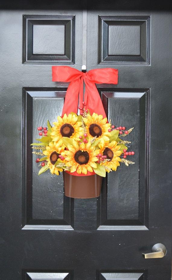 Sunflower Door Wreath- Fall Wreath Alternative- Ready to Ship- Thanksgiving Decor- Outdoor Decorations- Autumn Decor- Yea