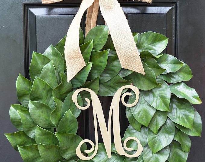 Magnolia Wreath, Artificial Magnolia Wreath, Magnolia Leaves Door Wreath, Fixer Upper Southern Decor Year Round Wreath