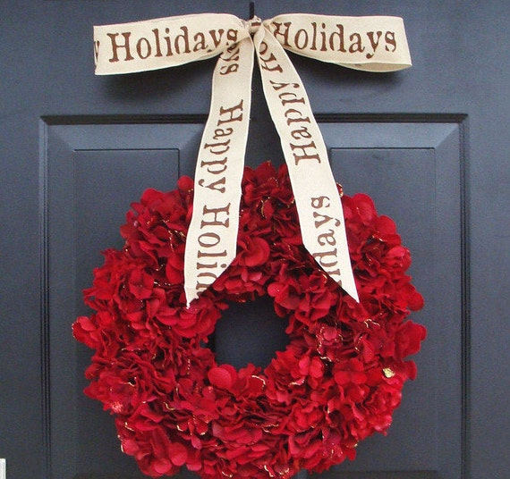 Holiday Wreath, Christmas Wreath, Hydrangea Wreath, Christmas Gift, Winter Wreath, Happy Holidays Red Wreath, Door Wreath FREE SHIPPING