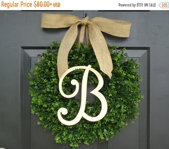 SUMMER WREATH SALE Monogram Boxwood Wreath, Fall Monogram Wreath with Burlap Bow, Housewarming Gift, Wedding Wreath 16- 24 Inch Available