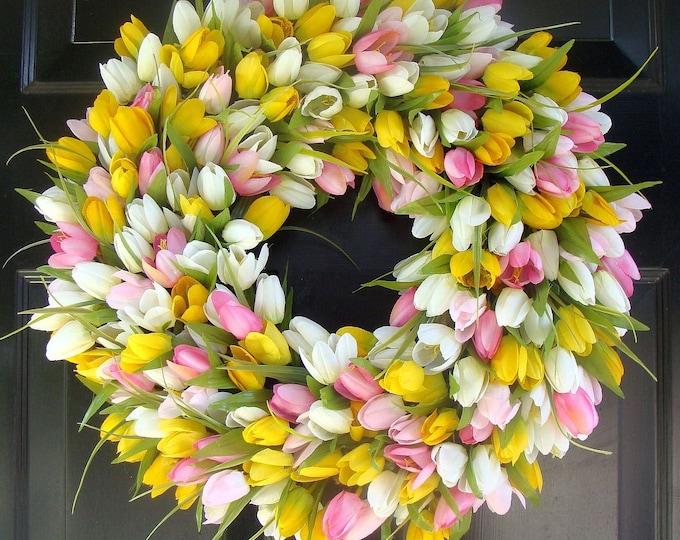 Spring Wreath- Mother's Day Wreath- Spring Decor Decoration- Custom Outdoor Tulip Wreath- Spring Wreath for Door The ORIGINAL TULIP Wreath