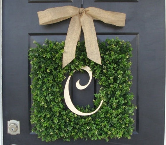 Monogram Boxwood Wreath, Boxwood Monogram Wreath with Burlap Bow, Housewarming Gift, Wedding Wreath 16-22 INCH Wreath available