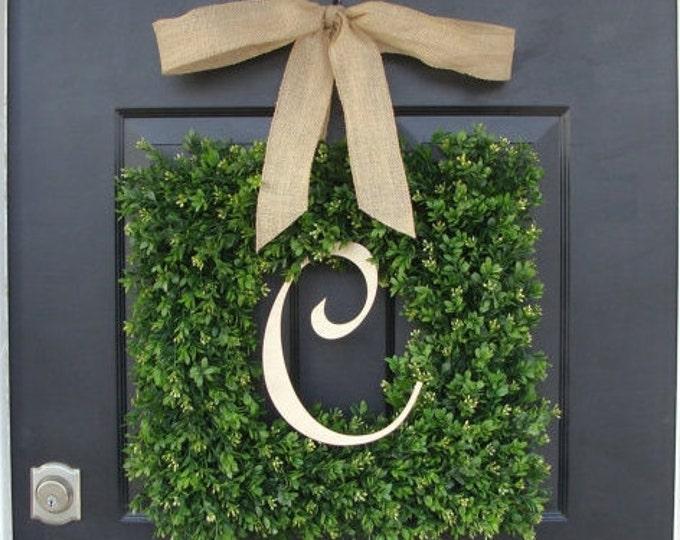 Monogram Boxwood Wreath, Boxwood Monogram Wreath with Burlap Bow, Housewarming Gift, Wedding Wreath 16-24 INCH Wreath available