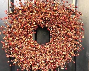 Autumn Berry Fall Wreath, Door Wreath SALE Thanksgiving Wreath Berry Wreath, Thanksgiving Decor XL 18 - 24 INCH Sizes Available