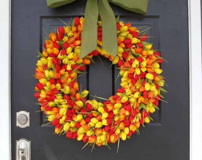 Spring Decor- Tulip Spring Wreath, Wreath for Door Spring, Custom Colors and Ribbon, 24 inch Spring Wreath, Door Wreath