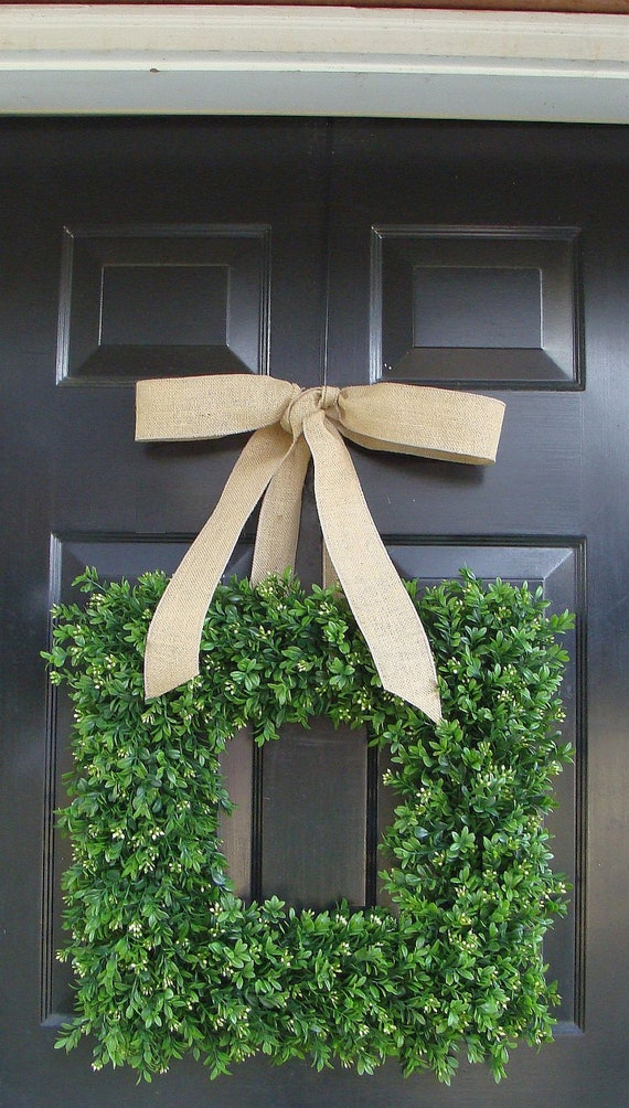 Spring Wreath- Wedding Wreath- Artificial Boxwood Wreath with Burlap Bow- Square Wreath- Holiday Wreath Decor- 24 INCH
