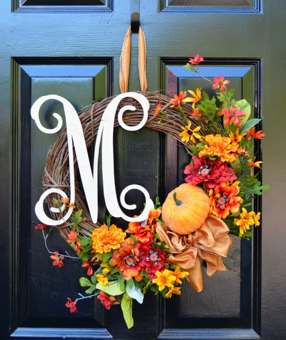 Fall Wreath- Limited Edition Grapevine Fall Wreath- 18 inch- Pumpkin Decor- Halloween Decorations- Asymmetrical Wreath- Front Door Wreath