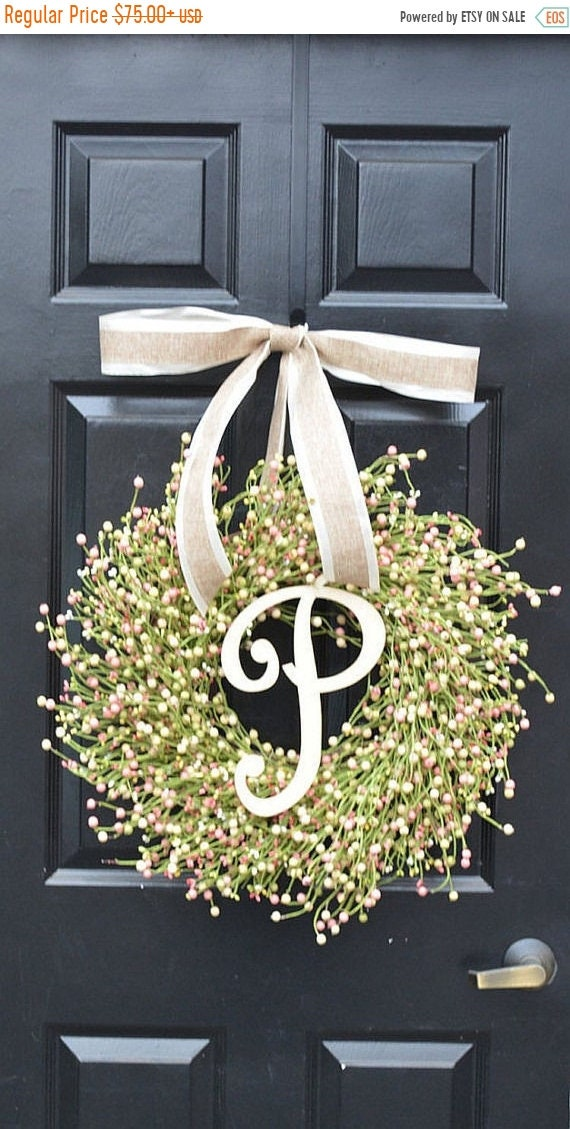 SUMMER WREATH SALE Spring Berry Wreath, Spring Decor, Spring Wreath, Pastel Easter Wreath, Easter Decor, Year Round Wreath, Pink, Green, Cre