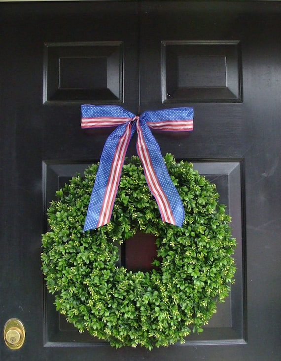Patriotic Wreath- 20 inch Boxwood Wreath American Flag Ribbon- July 4th Wreath- 4th of July Decor