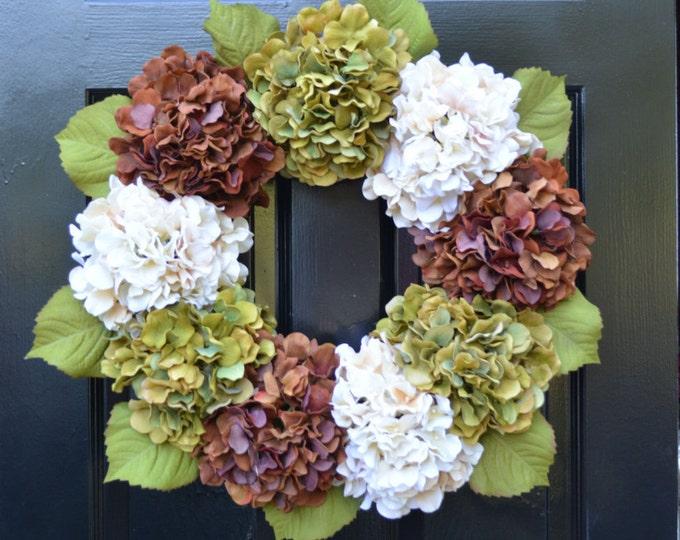Fall Hydrangea Wreath, Hydrangea Fall Wreath, Fall Decor, Fall Decoration, Fall Hydrangeas, 24 inch Ready to Ship