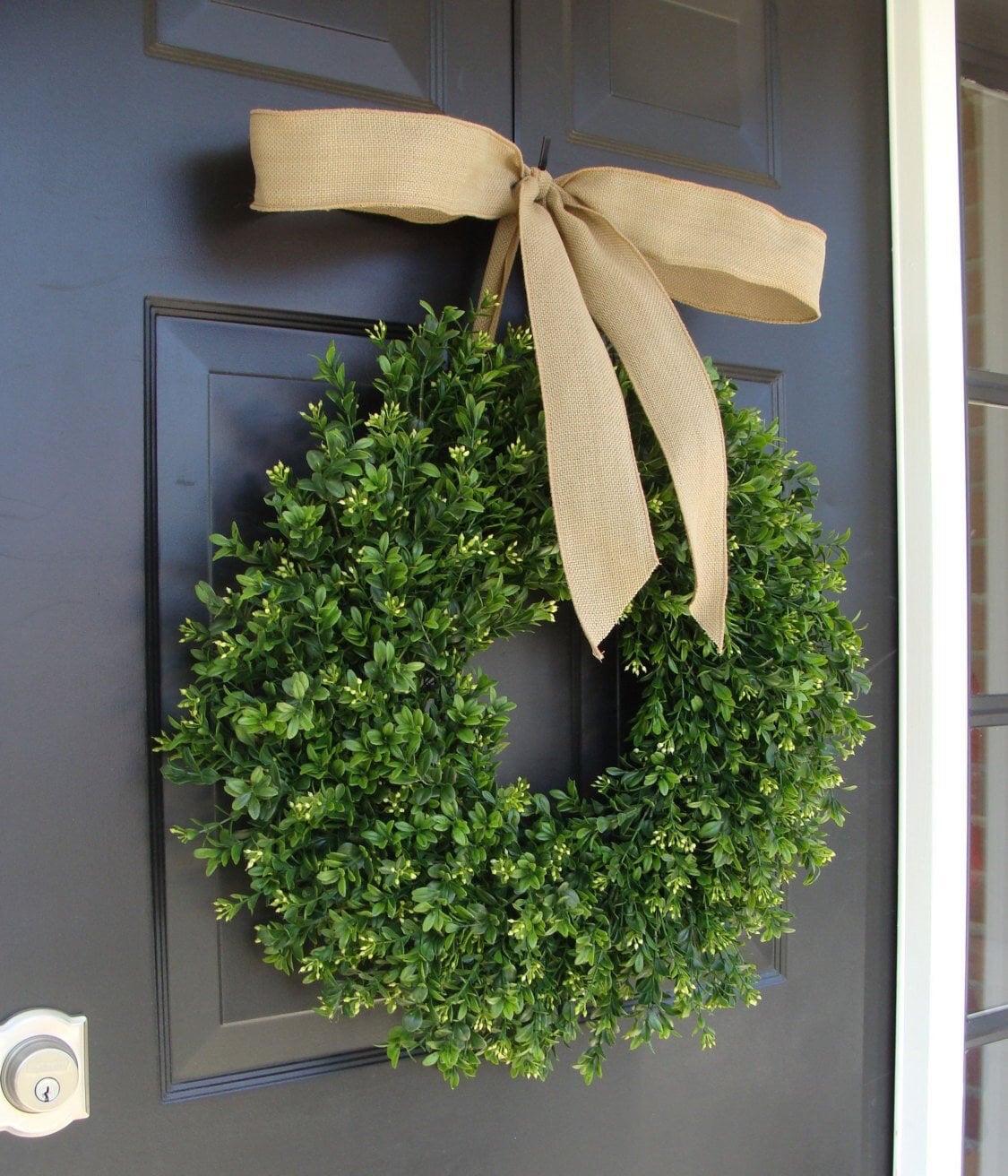 Thin Boxwood Wreath Spring Wreath Year Round Wreath Door Wreath Wreath For Storm Door Wreath For Storm Door Outdoor Boxwood Decor