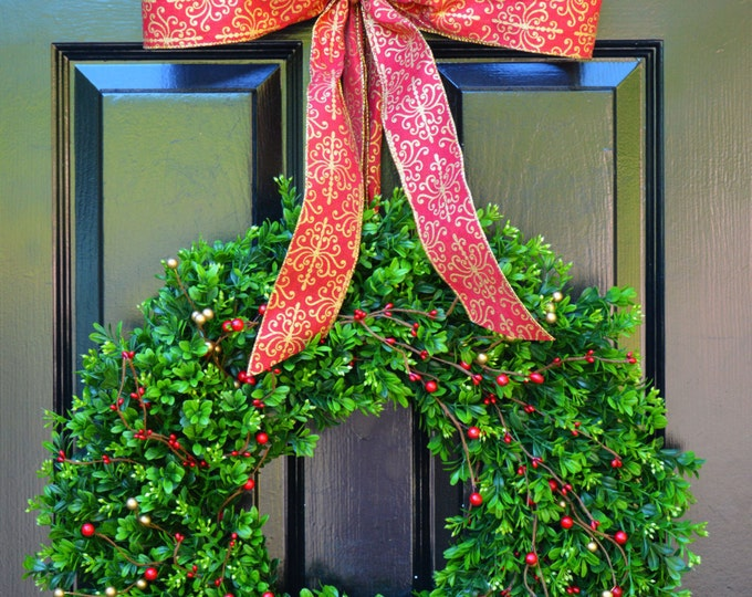 Holiday Wreath- Boxwood Wreaths with Red and Gold Berries Christmas Wreath- Winter Wreath- Holiday Decor- Christmas Decor- Christmas Decorat