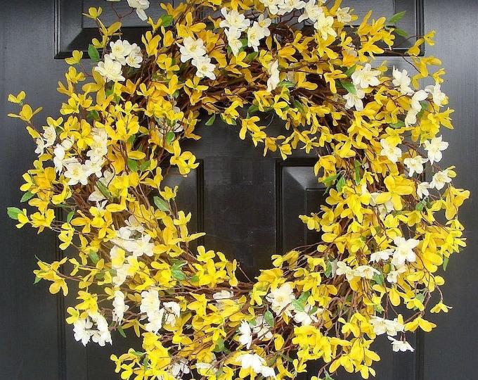 Forsythia Spring Wreath- Yellow Wreath- Year Round Wreath Decor