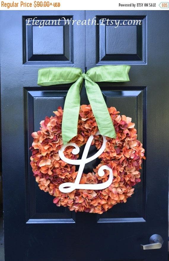 Monogram Hydrangea Fall Wreath, Halloween Wreath, Ready to Ship, Orange Pumpkin Wreath, Fall Decor, Fall Wedding Wreath