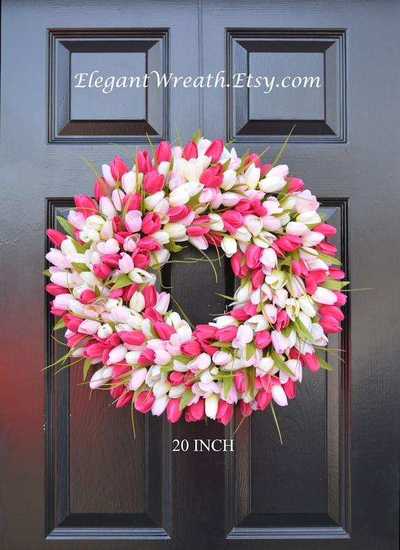 Tulips Spring Wreath- Spring Decor-Spring Tulips Wreath, Custom Colors and Sizes- Summer Wreath- The ORIGINAL Tulip Wreath