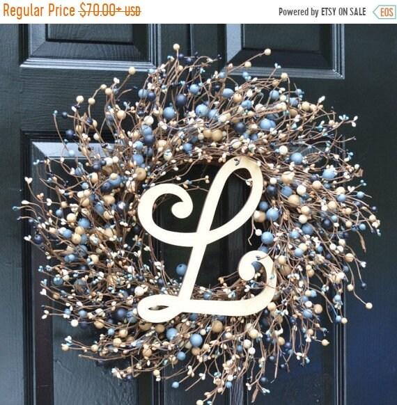 SUMMER WREATH SALE New Year Round Berry Wreath, Berry Monogram Wreath, Shabby Chic Decor, New England Decor, Blue and Tan Wreath, Rustic Dec