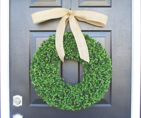Artificial Boxwood Wreath- Spring Wreath- Door Wreath- Year Round Wreath- Spring Decor- Burlap Bow- Fall Wreath