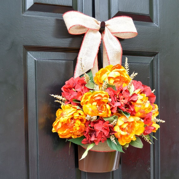 Fall Peony Hydrangea Door Bucket, Fall Wreath Alternative, Fall Decor for Front Door, Autumn Decoration, Fall Colors