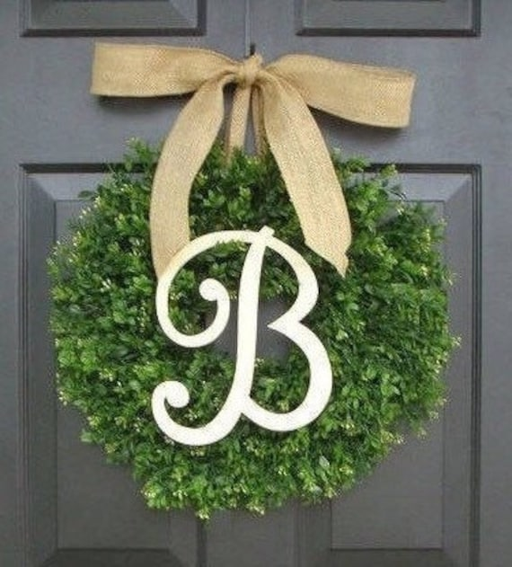SUMMER WREATH SALE Faux Boxwood Wreath, Monogram Wreath, Outdoor Door Wreath, Fall Wreaths, Year Round Wreath, Spring Wreath