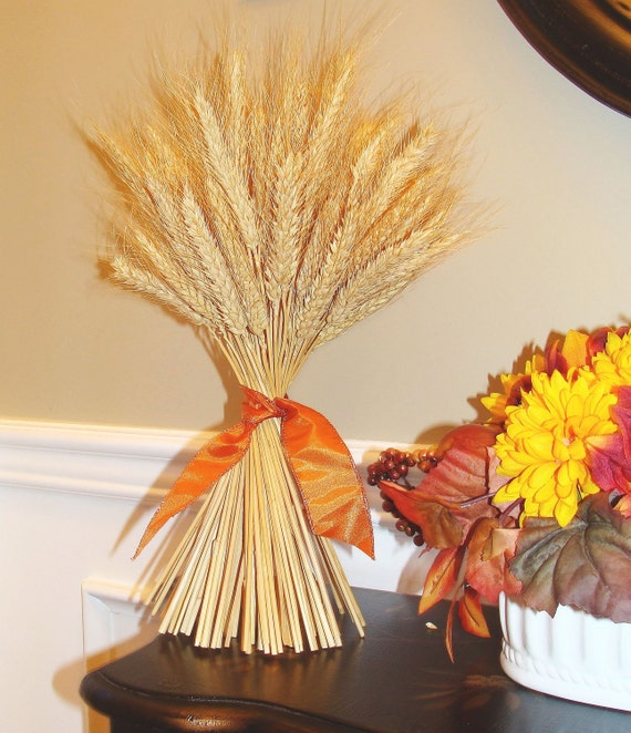 Fall Decor- Thanksgiving Decoration- Thanksgiving Centerpiece Wheat Sheaf With Ribbon- Mantle Decoration- Fall Decoration- Sale