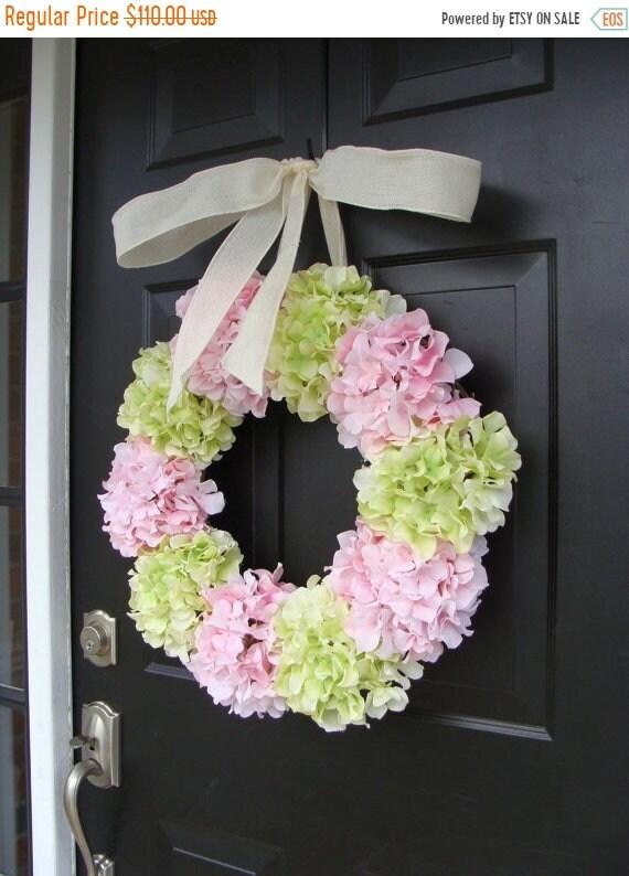 SUMMER WREATH SALE Spring Wreath, Hydrangea Wreath, Front Door Spring Wreath- 24 Inch Hydrangea Wreath- Spring Wreath for Door