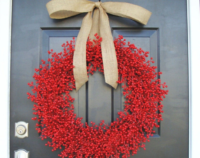 Weatherproof Berry 24 inch Shown Red Christmas Wreath-  Holiday Wreath- WEATHERPROOF, Designer Ribbon 14-24 inch sizes available