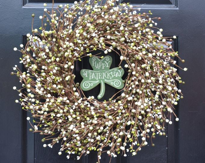 St Patricks Day Wreath, Happy St Patricks Day Shamrock Berry Wreath Decor, Green Cream Berry Wreath Shamrock Irish Decoration, Spring Wreath