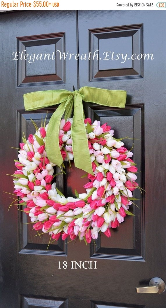 SUMMER WREATH SALE Spring Mother's Day Wreath Spring Wreath Tulip Wreath Gift for Mom Wreath for Spring Custom Size