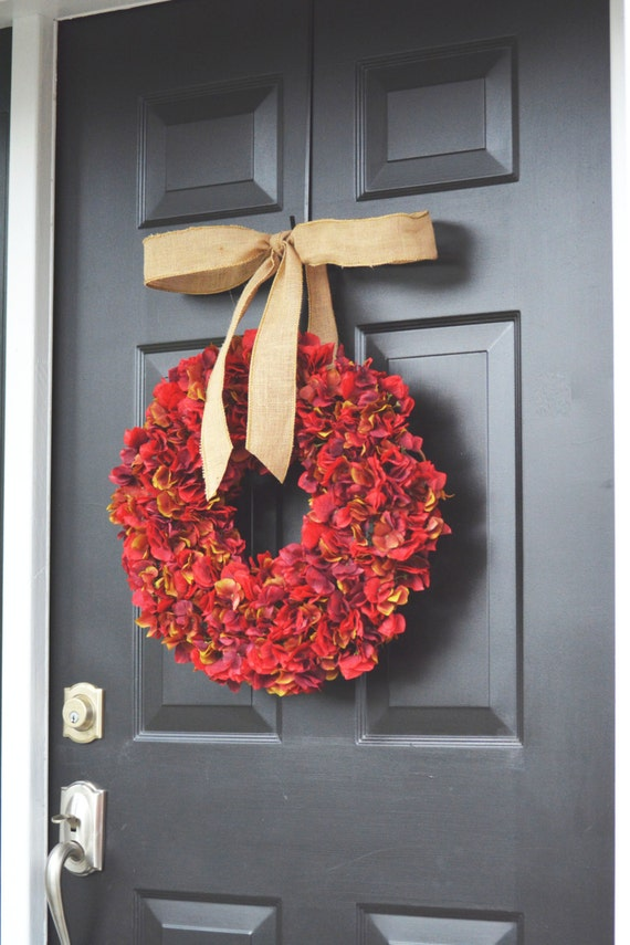 Red Apple Fall Hydrangea Wreath- Fall Wreath- Fall Decoration- Autumn Hydrangeas- Christmas Wreath- Thanksgiving Wreath- Door