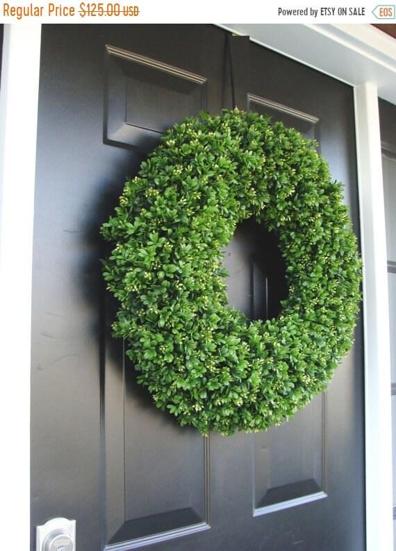 SUMMER WREATH SALE Spring Wreath, Artificial Boxwood Wreath, Wedding Wreath, Wedding Accessories, Summer Wreath, Door Wreath, Greenery
