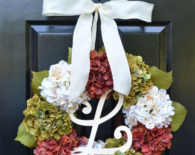 Fall Hydrangea Wreath, Hydrangea Fall Wreath, Monogram Fall Wreath, Fall Decor, Fall Decoration, Monogram Wreaths,  Fall Wedding Wreath