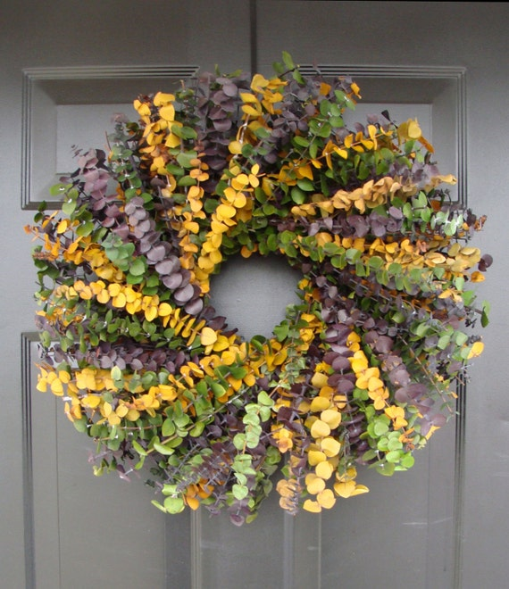 Eucalyptus Wreath-Custom Preserved 16 Inch Wreath- Spring Wreath- Preserved Dried Floral Wreath- Choose your Color Combination