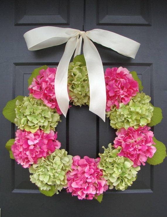 Outdoor Hydrangea Summer Wreath- Custom Hydrangea Wreath- Spring Wreath for Door- Custom Colors 24 inch